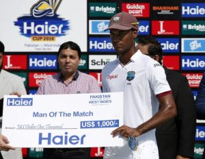Kraigg Brathwaite had an unforgettable Test and collects his Man-of-the-Match award for his splendid efforts.
