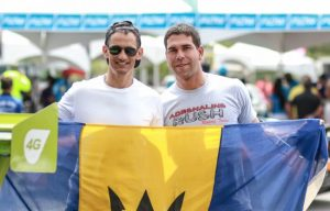 Mark Maloney (l) and Mark Thompson are among those flying the Barbados flag in Guyana this weekend. (FP)