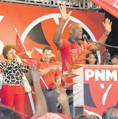 Prime Minister Dr Keith Rowley declares victory in the Local Government elections at Balisier House, Port-of-Spain last night.