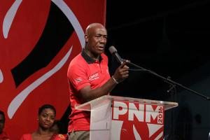 Prime Minister Dr Keith Rowley during the PNM's public meeting in Cocoyea on Wednesday.