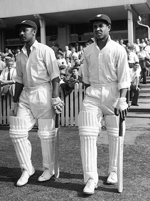 Garfield Sobers (right) and Frank Worrell, England v West Indies at Trent Bridge, 1957. (Photo: Cricinfo)