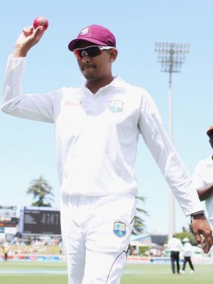 Sunil Narine in unfamiliar whites for the West Indies.