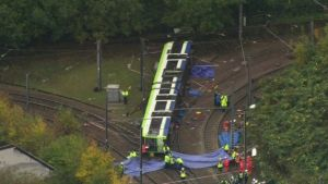 The tram derailed shortly after 06:00 GMT near the Sandilands stop.