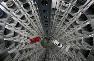 Volkswagen cars are stored at the 'CarTowers' in the theme park 'Autostadt' next to the Volkswagen plant in Wolfsburg.