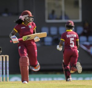 West Indies Women got a good start in their run chase but did not get the contributions from captain Stafanie Taylor (l) and Deandra Dottin for which they were hoping.