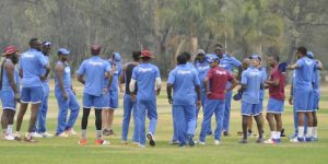 West Indies team during their training session in Zimbabawe.