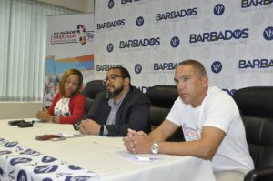 (Left to right) At today's media briefing were Samantha Inniss, Neville Boxill and Zary Evelyn.