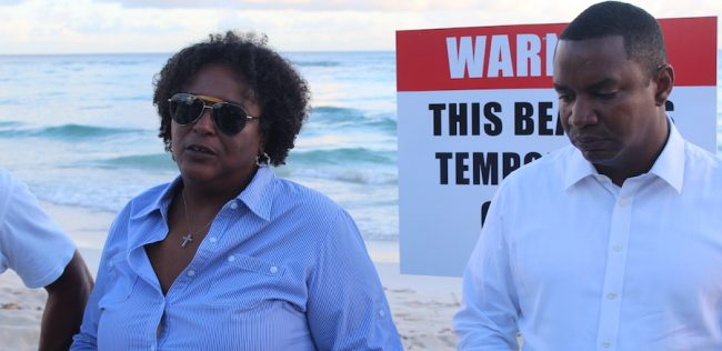 Opposition Leader Mia Mottley and Shadow Minister of the Environment Wilfred Abrahams visited Worthing Beach this afternoon. Above, a section of the popular beach that has been affected by run-off.