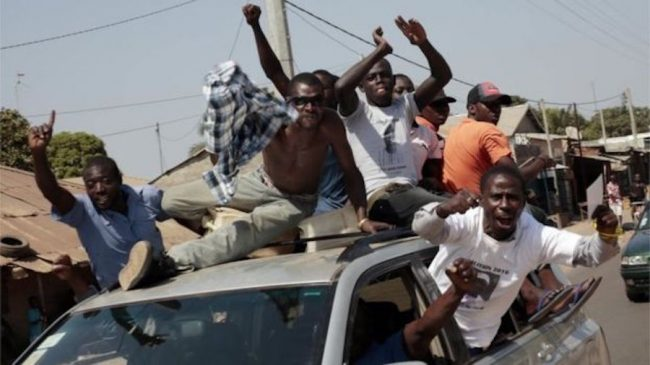 There were scenes of jubilation in The Gambia after the result was announced.