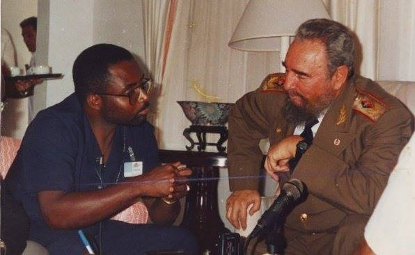 Reudon Eversley in conversation with the late Fidel Castro.