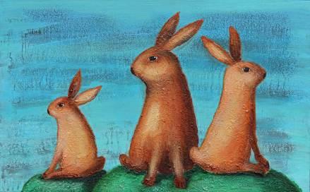 Drei Hasen 3, 2014, 50x80cm, Mischtechnik auf Leinwand