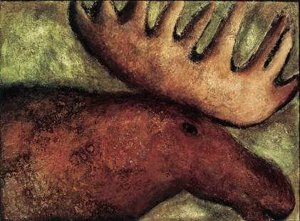 Elch, 1999, 100x135cm, Mischtechnik auf Leinwand