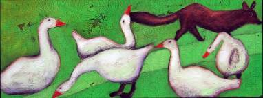 Fuchs du hast die Gans gestohlen 2, 2004, 57x150cm, Mischtechnik auf Leinwand