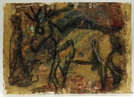 Hirsch, 2001, 50x70cm, Mischtechnik auf Papier
