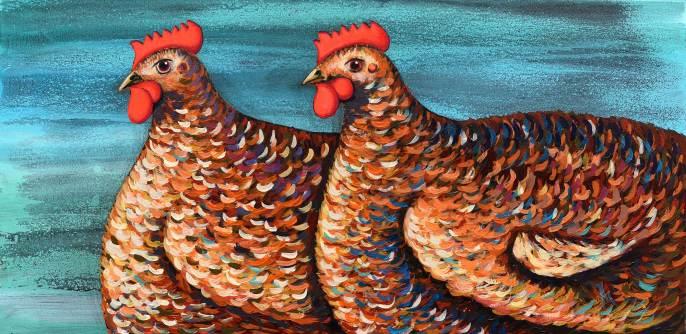 Hühner 1, 2016, 40x80cm, Acryl auf Leinwand
