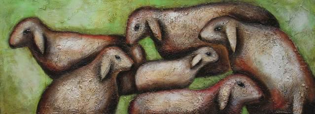 Schafe 2, 2003-57x150cm, Mischtechnik auf Leinwand