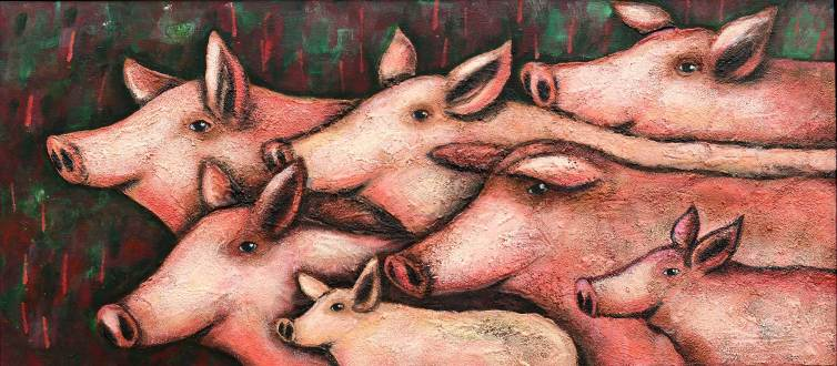 Schweine 1, 2016, 60x135cm, Mischtechnik auf Leinwand