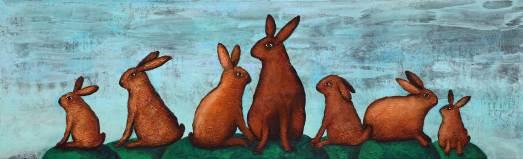 Sieben Hasen, 2016, 50x160cm, Mischtechnik auf Leinwand