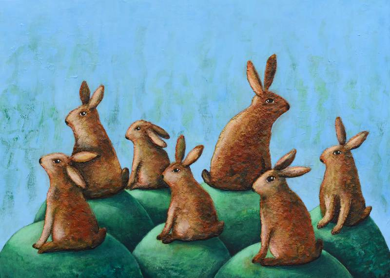 Sieben Hasen, sieben Huegel, sieben Welten, 2017, 80x110cm, Mischtechnik auf Leinwand