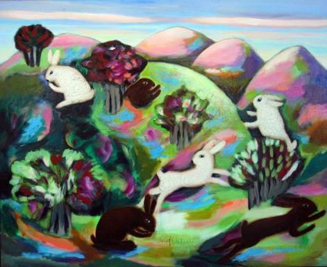 Vom Hasen und seiner ganzen Natur, 2006, 110x135cm, Mischtechnik auf Leinwand
