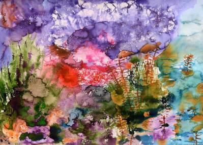 Wasserlandschaft 2, 2016, 50x70cm, Tusche auf Papier
