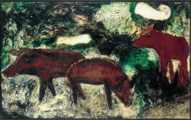 Wildschweine, 1994, 100x160cm, Mischtechnik auf Leinwand