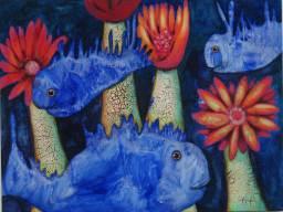 Blaue Fische 3a, 2007, 76x100cm, Mischtechnik auf Leinwand