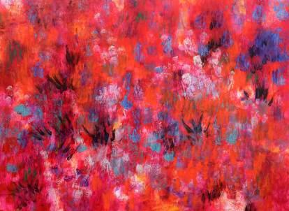 Deep in rot, 2016, 90x120cm, Acryl auf Leinwand