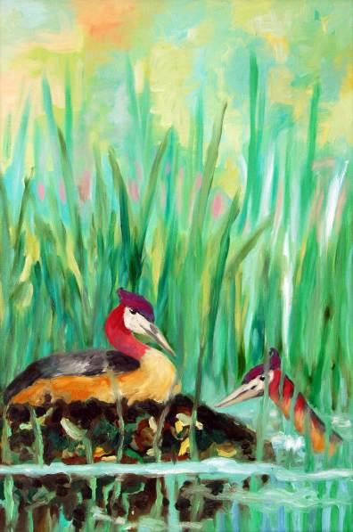Nest im Grünen, 2010, 90x60cm, Öl auf Leinwand