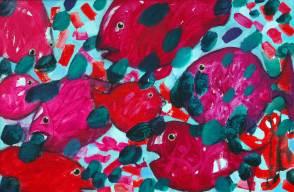 Rote Fische, 2007, 57x86cm, Mischtechnik auf Leinwand