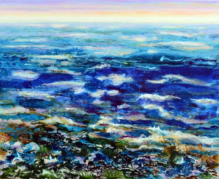 Wildes-Meer, 2020, 90x110cm, Mischtechnik auf Leinwand
