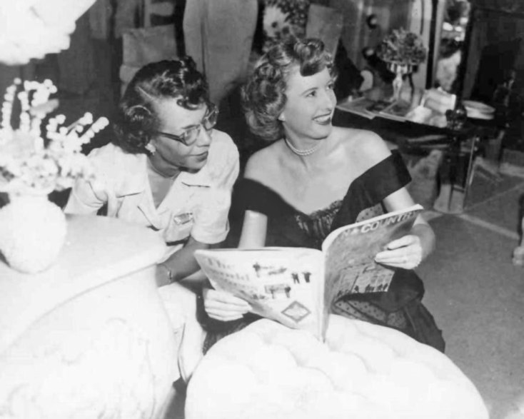 Missy and Harriet on the set of East Side, West Side (1948)
