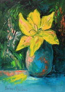 Yellow Lily and Blue Vase
