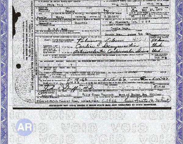 Death Certificates –  Sources Created under Stress and Grief