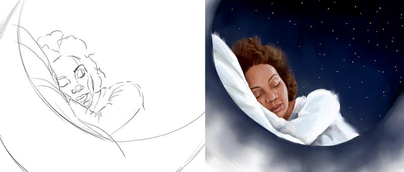 ilustración editorial dormir