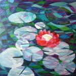 5 red lilly oil 24x24 ins