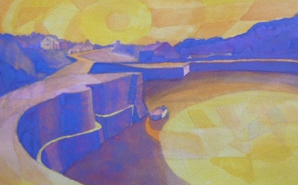 Porthgain in purple and yellow