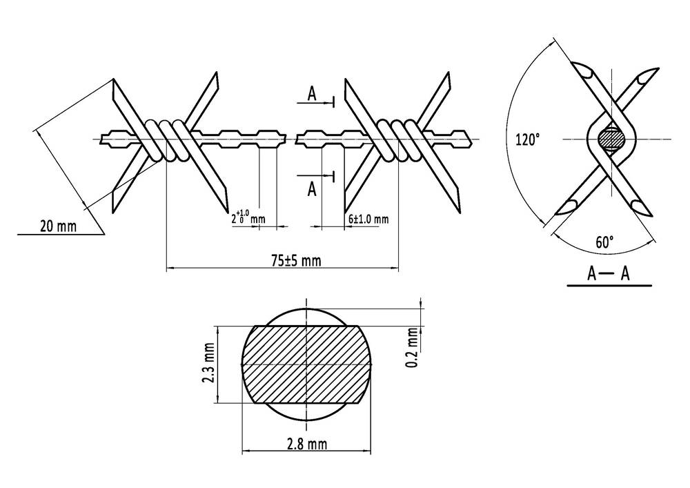 Gal Barbed Wire and PVC Barbed Wire Specifications