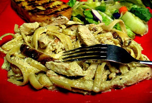 Grilled Chicken Carbonara