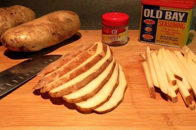 The ingredients for seasoned homemade fries