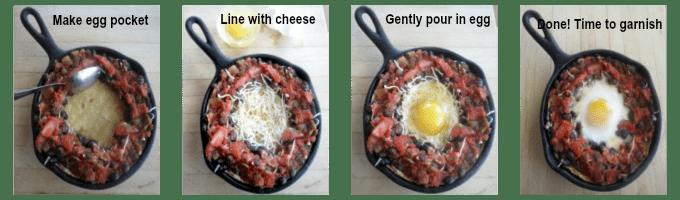 Adding the egg to the huevos rancheros