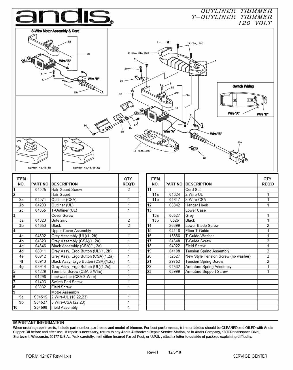 parts of the nose diagram ignition wiring andis outliner/ t-outliner lower blade screw #26899 - barber depot