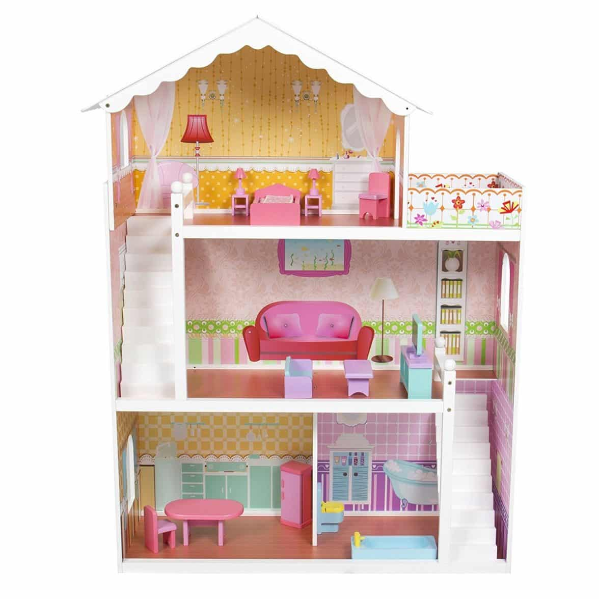 Large Children's Wooden Dollhouse Fits Barbie Doll House
