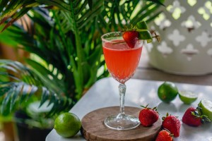 Seagram's Lime and Strawberry Drop Martini cocktail recipe