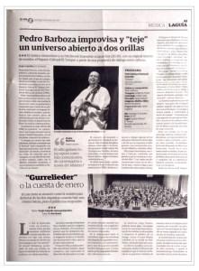 Press-BarbozaMusic_El Día 15-01-17, Pedro Barboza y Patchwork Ensamble, Música Improvisada, Festival Internacional de Música de Canarias