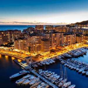 Aerial-View-on-Fontvieille-and-Monaco-Harbor-night-life