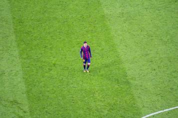 Leo Messi on Camp Nou pitch