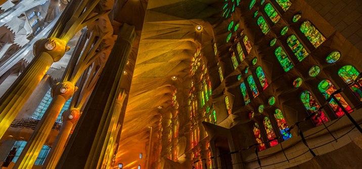 Sagrada familia interior stained glass