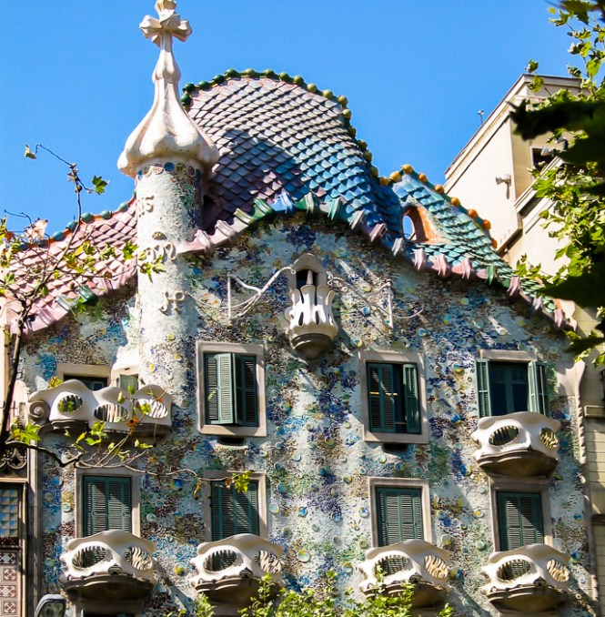 The Colorful Façade Of Batlló Apartment Building By Gaudi