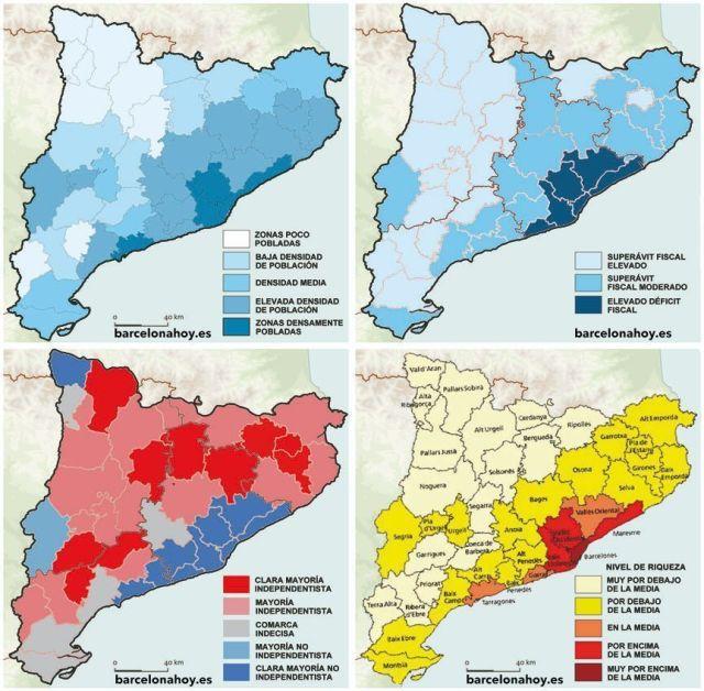 En estos mapas puede verse claramente dos zonas diferenciadas en Cataluña: Tabarnia y Lazitania.